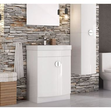 Katie D Shape 600mm Floorstanding Vanity Unit & Basin